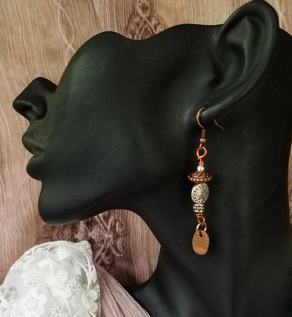 Boho Message Earrings in Copper and Silver with a Unique Twist,   Hypoallergenic, Nickel Free, Vegan Friendly, Copper Witch Designs