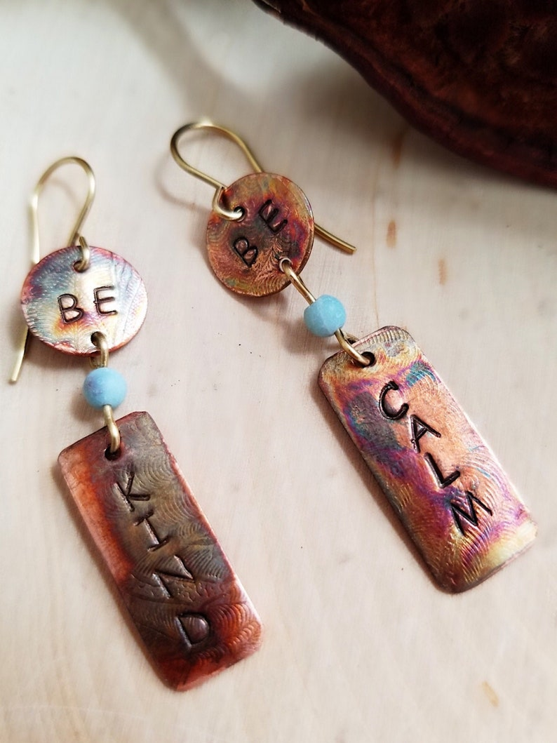 Affirmation Earrings Featuring Inspirational Message: Be Kind Blue-Green