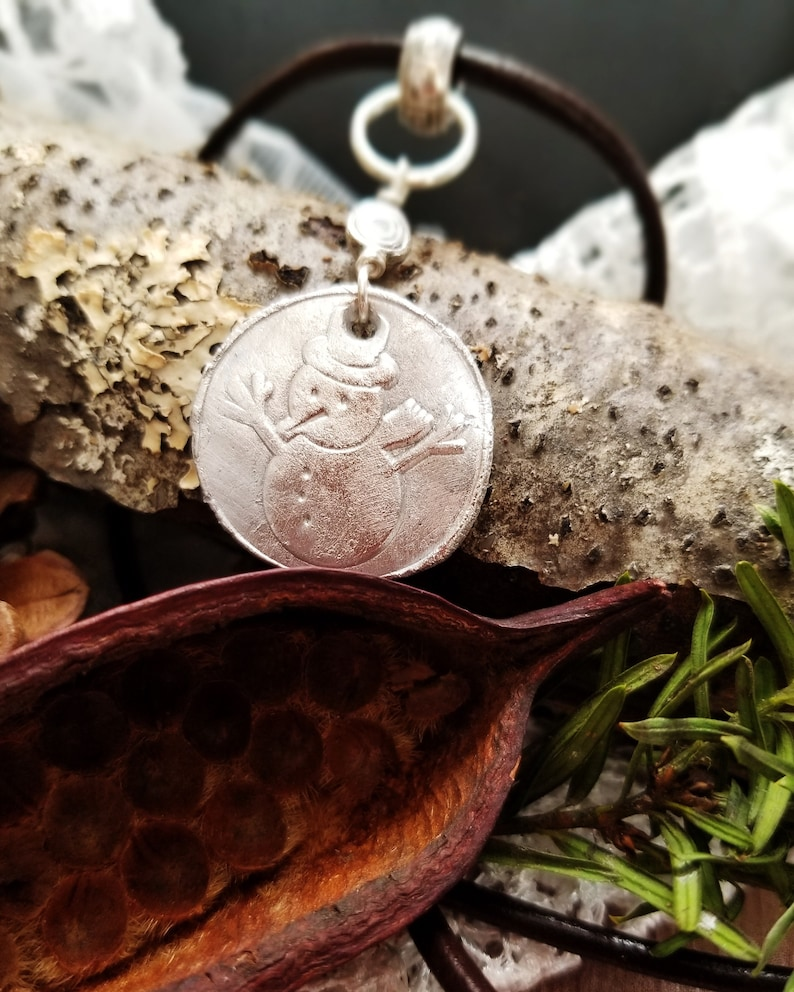 Silver Snowman Holiday Necklace on Leather Choker Rustic image 0