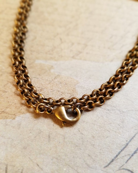 "Necklace Made from Vintaj Natural Brass Rolo Chain, 18"", Natural Brass Lobster Clasp, Hypoallergenic"