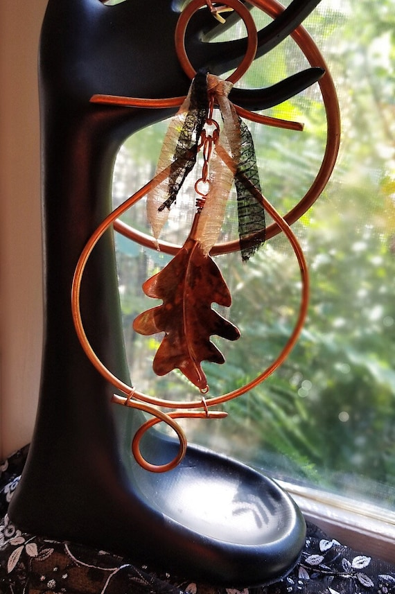 White Oak Leaf, Hand Forged in Copper, Sun Catcher or Wall Hanging, One of a Kind Nature Art, Vegan Friendly, Copper Witch Designs