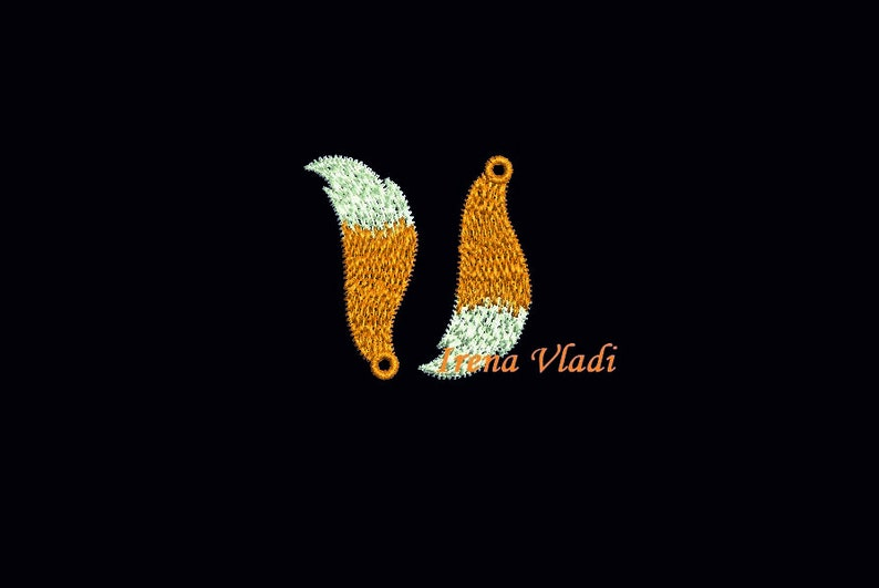 FSL jewelry fox tail earrings Free Standing Lace Machine Embroidery mini  design 4x4hoop - 1 size, digital embroidery, instant download