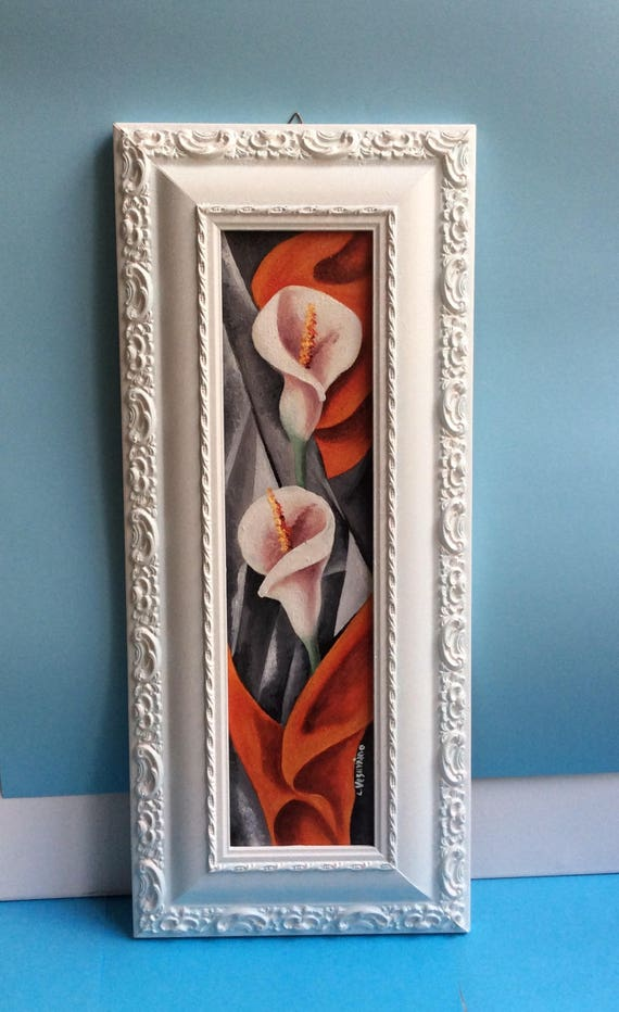 Paintings With Flowers Art Deco Oil Painting Witness Bomb Etsy