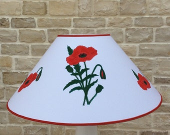 Lampshade for lamps, Lampshade in hand painted fabric.