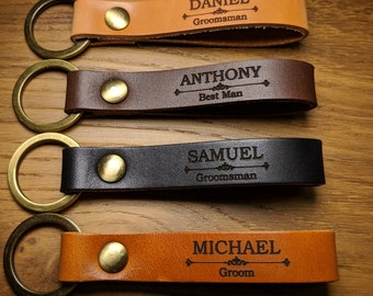 Groomsmen Gift Personalized Leather Keychain 1f57befa2acb