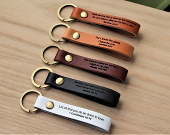 Custom Leather Keychain, Personalized Bible Verse, Permanent Engraved Front Side and Back Side. Anniversary Gift. Made in America.
