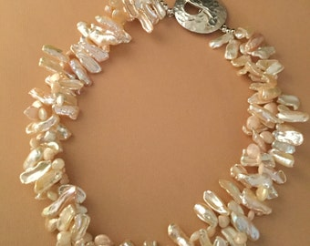 Champagne Heishe Pearls with Champagne Crystals-Double Strand