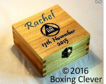 Finished with Silver Glitter /& Stain 4.7x4.7x2.3 Inches-KeepsakeTrinketJewelry FREE DELIVERY UK Engraved Personalized Keepsake Box