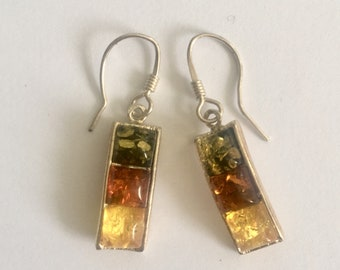 Sterling silver mounted 3 colour amber ear rings for pierced ears