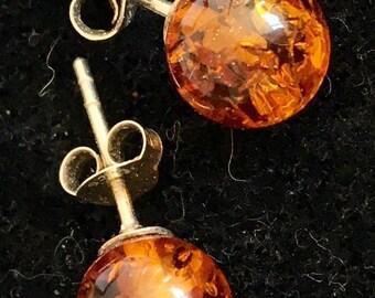 Sterling silver mounted amber ear rings for pierced ears