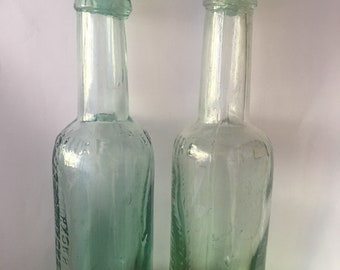 Victorian original goodhall & Blackhouse yorkshire relish sauce bottles with glass lids suitable for oil /vinegar