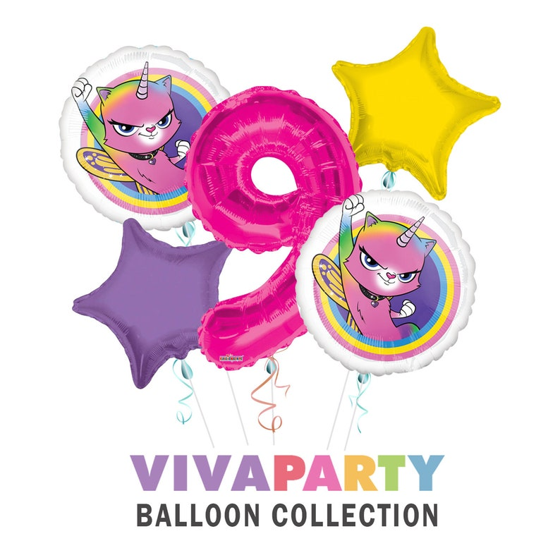Rainbow Butterfly Unicorn Kitty Birthday Party Supplies Balloon Bouquet Select from Age 1 to 9
