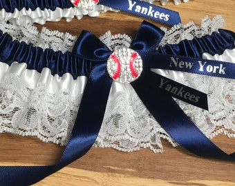 Yankees Wedding Garter handmade with Yankees fabric