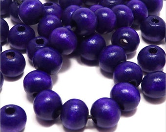Set of 50 8 mm Indigo wood round beads
