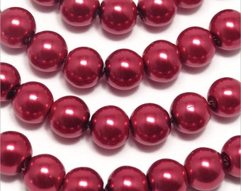 Set of 30 8mm Czech red glass pearl beads