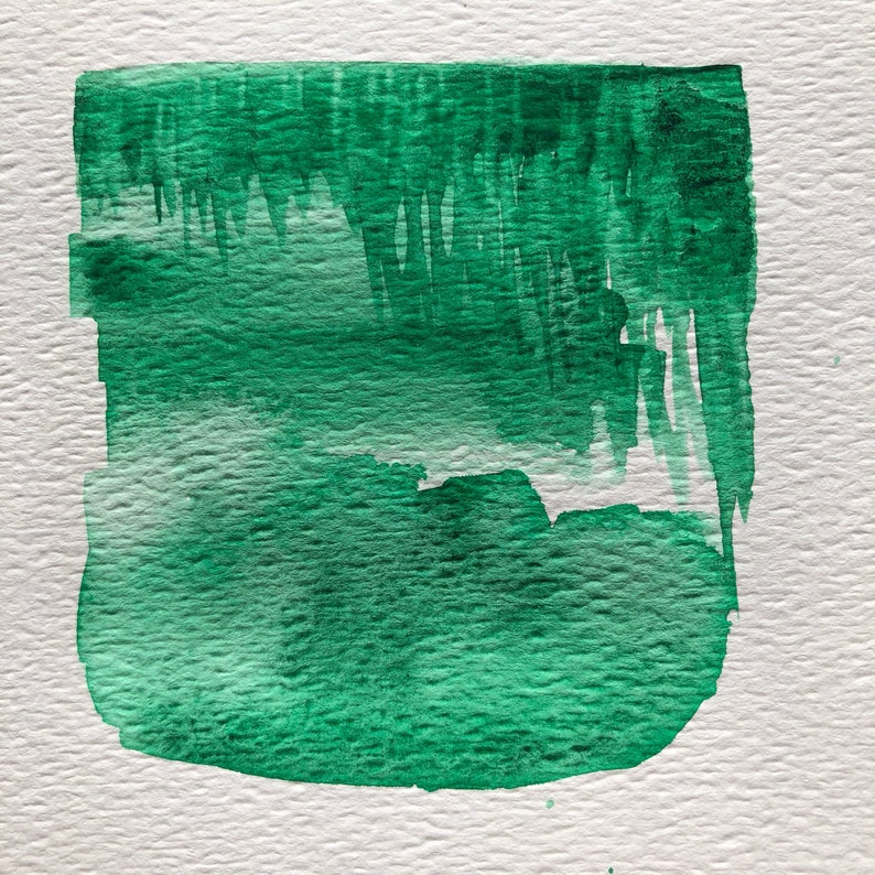 half pan Phthalo Green Watercolor Paint Yellow-leaning Bright Green with Dark Agglomeration -- Handmade Watercolour in 3d Printed Pan
