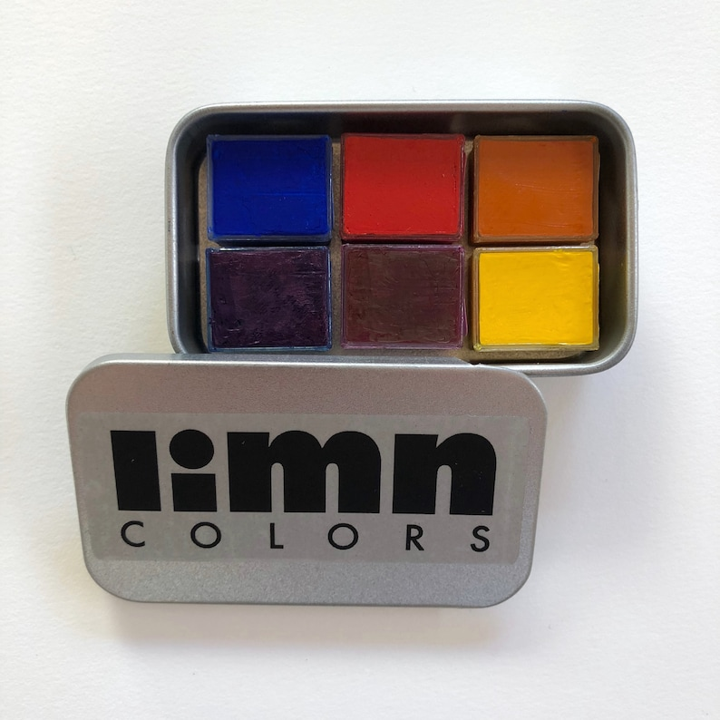 Split Primary Sixer -- Handmade Watercolor Palette -- Color Mixing Paint  Set -- Six Primary Colors in Metal Travel Case