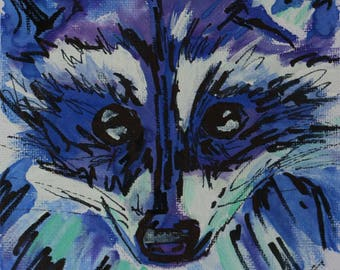 Racoon watercolour painting on canvas board