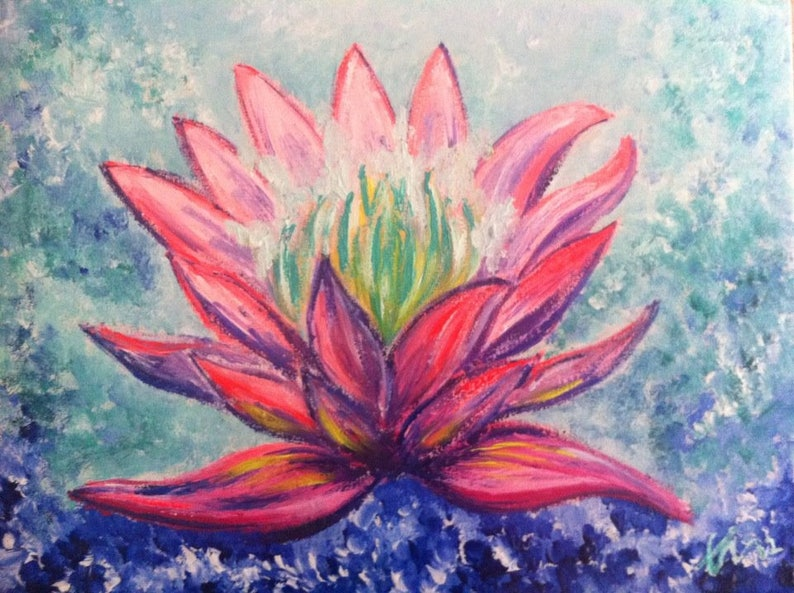 Lotus Flower Opening Heart Chakra Acrylic Painting On Canvas Etsy