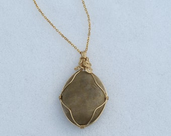 """Wire-Wrapped Pendant """"Sun-Kissed"""" Polished Stone Necklace"""