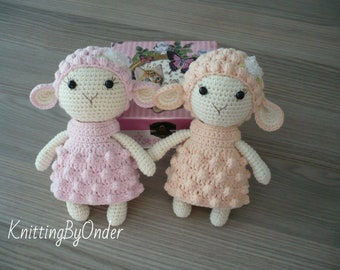 Crochet stuffed lamb Amigurumi lamb soft toy Crochet animal sheep Pink lamb in dress Baby girl nursery decor Gift for her Knitted white lamb