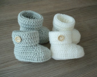 Crochet baby booties, Gender neutral baby boots, Unisex baby shoes, Christmas baby gift