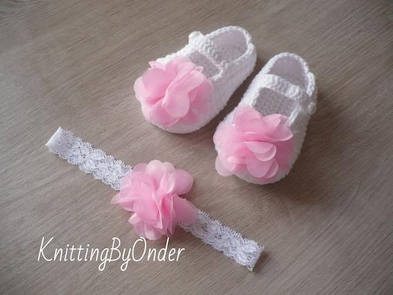 Weiße Babyschuhe Mädchen Mit Rosa Blume Mädchen Set Schuhe Und Etsy