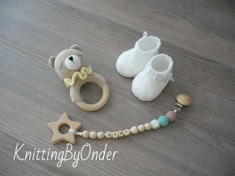 Custom baby boy gift New baby gift Teddy bear baby gift Name pacifier clip with booties