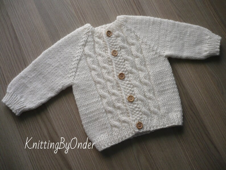 Hand knitted baby cardigan, Woolen baby sweater, White toddler sweater, Baptism cardigan