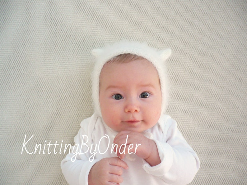 8d1c2cd0e39 Baby cat bonnet Knitted cat hat White baby bonnet Neutral baby