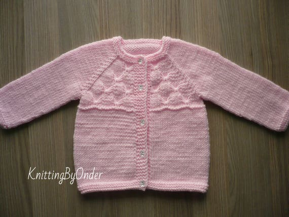 80f4d22a3 Pink baby girl cardigan 9-12 month Knitted baby girl cardigan