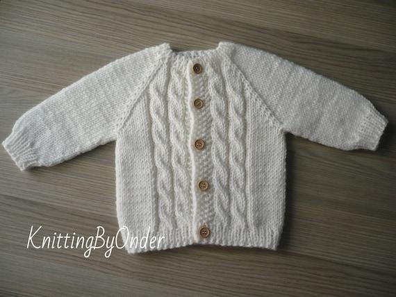 8202552e95c7 White woolen baby cardigan 6-9 months Knitted baby boy