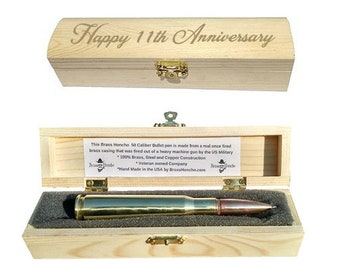 11th Anniversary Gifts for Husband | Steel Anniversary Gifts | Bullet Pen & Engraved Gift Box | 11th Wedding Anniversary gifts for men