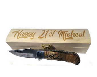 21st Birthday Gift Engraved Pocket Knife Box Personalized 21 For Him Boyfriend Or Mens