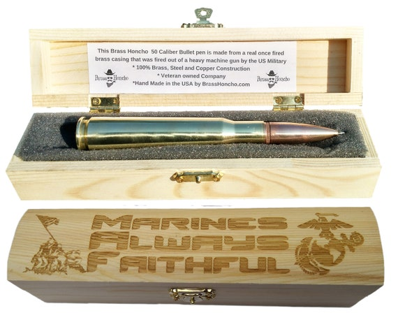 USMC Gifts For Men Bullet Pen Custom Engraved Gift Box