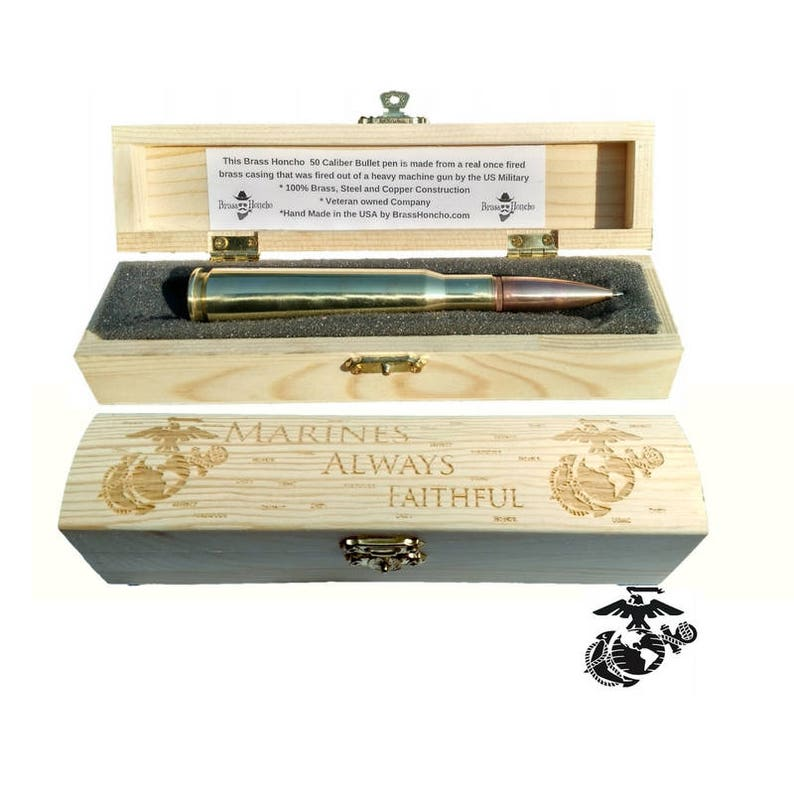 USMC Gifts For Men Bullet Pen Engraved Gift Box Marine