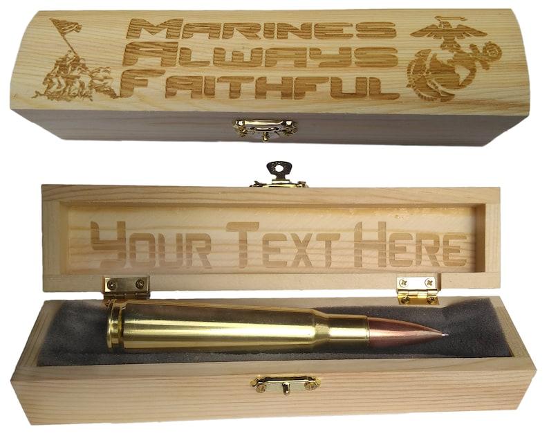 USMC Gifts For Men Bullet Pen Custom Engraved Gift Box