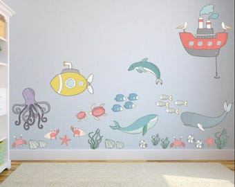 Ocean Themed Wall Stickers   Nursery / Kidu0027s Bedroom / Playroom Wall  Stickers   Under The Sea Wall Decal   Kids Wall Decals   Nursery Decor