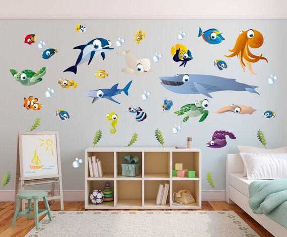Ocean themed wall stickers - children\'s bedroom / playroom wall stickers -  fish + friends wall stickers - kids wall decals - ocean wall art