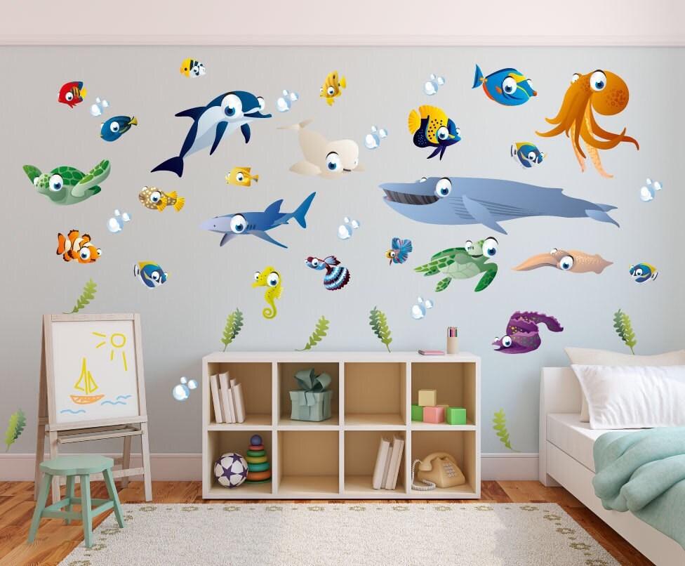 Ozean themen wand sticker kinderzimmer spielzimmer etsy for Sticker wand kinderzimmer