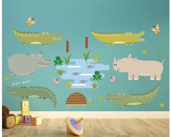 Childrens bedroom wall stickers - kids wall decals for bedroom / playroom -  crocodile wall stickers- swamp animals