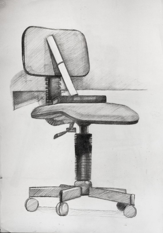 Fine Office Chair Charcoal Sketch Study Original Drawing On Paper Black And White Fine Art Print Reproduction Gmtry Best Dining Table And Chair Ideas Images Gmtryco