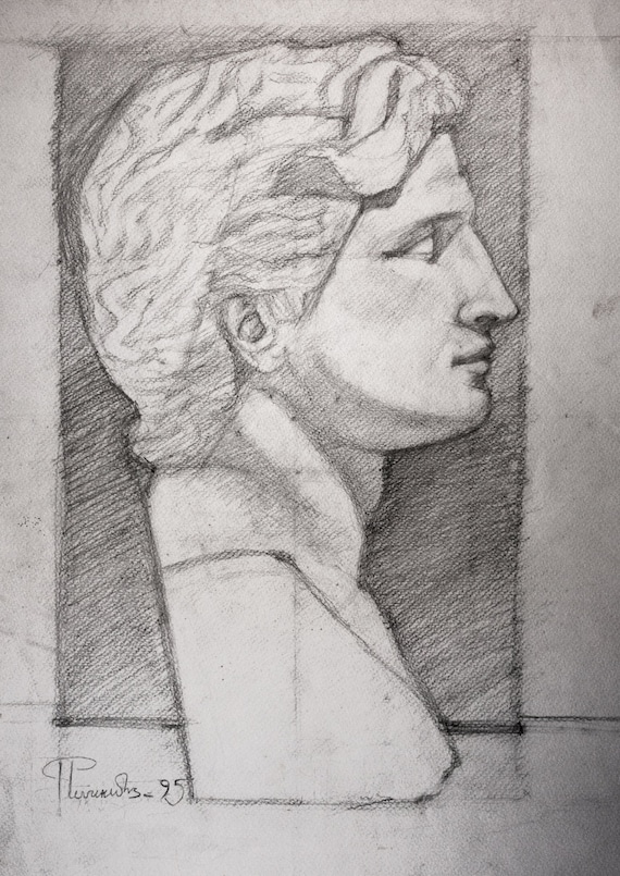 alexander the great pencil sketch study original drawing on etsy