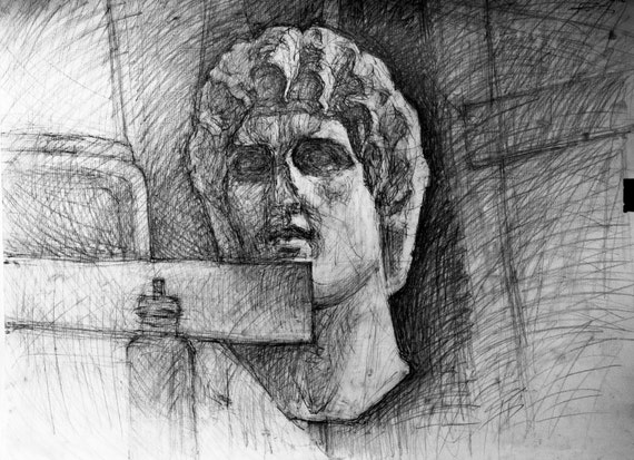 Athena Charcoal Sketch Study Original Drawing on paper Black and White Print