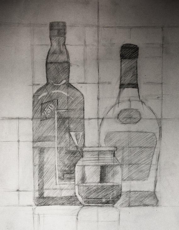 Bottles Pencil Sketch Study Original Drawing on paper ...