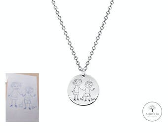 925 silver necklace engraved with children's drawing