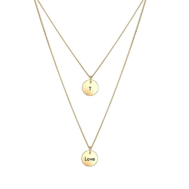 Gold 925 Silber 2er Pl\u00e4ttchen Kette