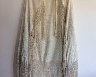 Vintage heavy cream silk shawl