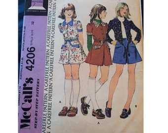 "Vintage McCall's Sewing Pattern 4206 for ""Girls Unlined Jacket and Skirt"" From 1974 / Size 12"
