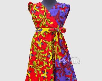 Ankara Girls Dress/ Ankara Wrap Dress/ Toddler Dress/ Ankara Vintage Girls Dress/ Ankara Princess Dress/ Ankara Dress/ African Girls Dress